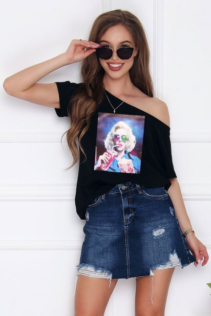 T-shirt damski bawełna Marilyn czarny
