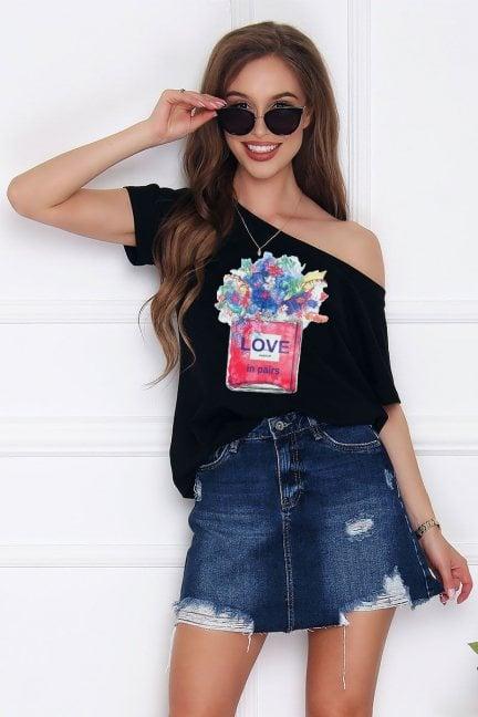 Koszulka modna nadruk Love czarna