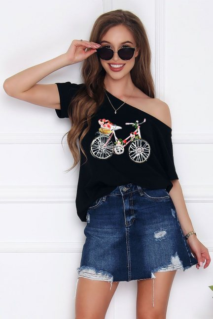 Bluzka damska nadruk Bicycle czarna