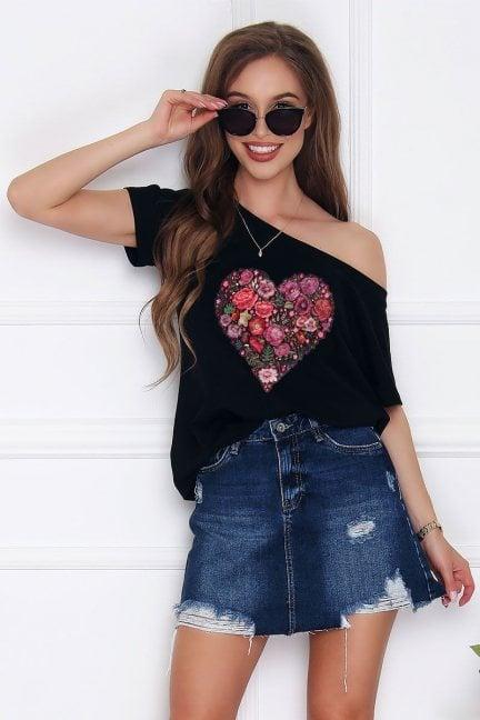 Koszulka bawełniana nadruk Heart czarna
