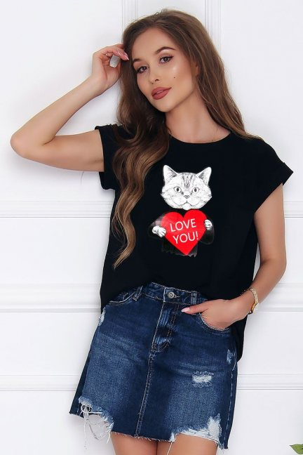 Koszulka damska z nadrukiem Cat czarna