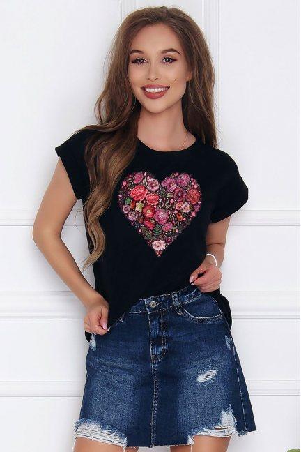 T-shirt damski z bawełny Folk Heart czarny