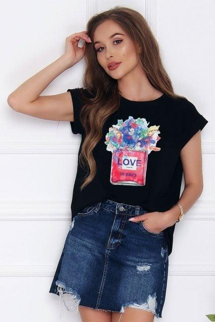 T-shirt bluzka bawełniana Love czarna