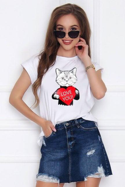 Koszulka damska z nadrukiem Cat biała