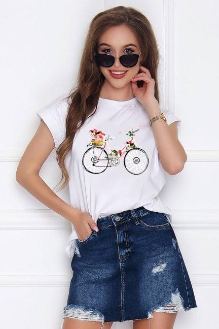 T-shirt damski z aplikacją Bicycle biały