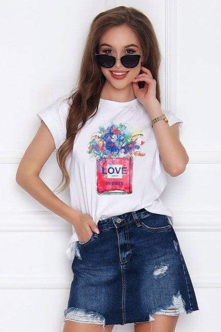 T-shirt bluzka bawełniana Love biała