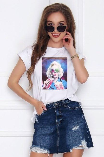 T-shirt damski z bawełny Marilyn biały