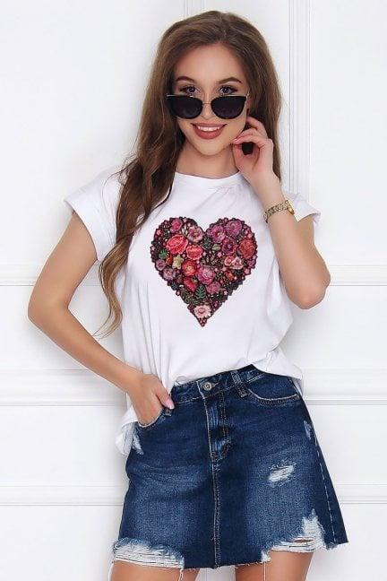 T-shirt damski z bawełny Folk Heart biały