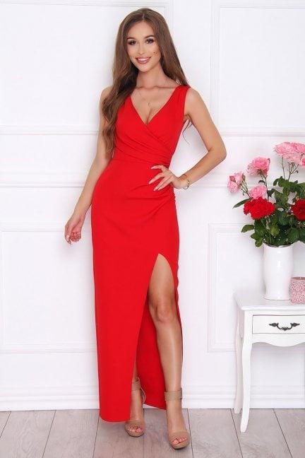 Sukienka elegancka maxi rozporek czerwona
