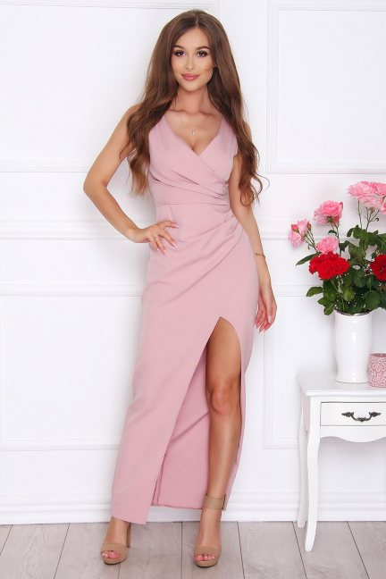 Sukienka elegancka maxi rozporek różowa