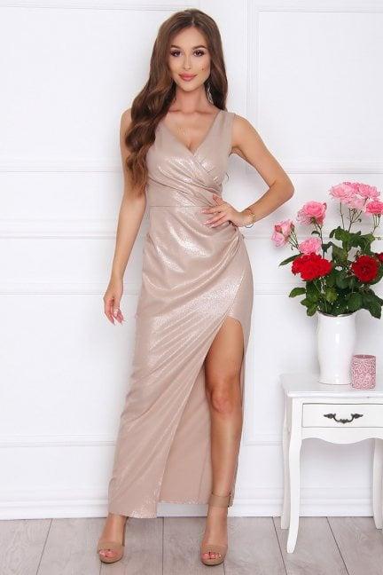 Sukienka modna maxi z dekoltem beżowa