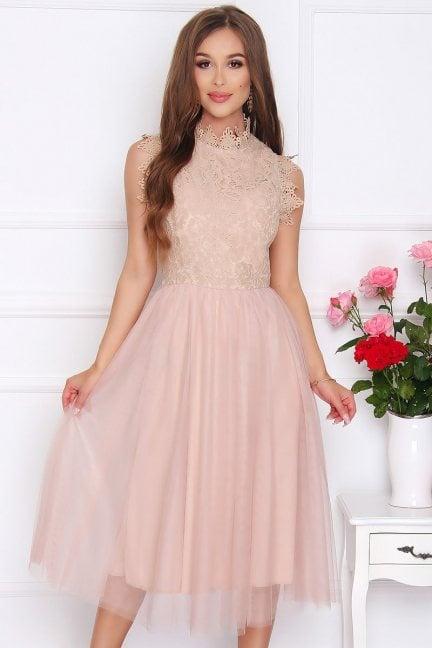 Sukienka tiulowa midi ze stójką beżowa