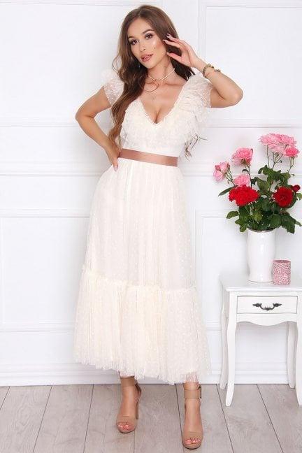 Sukienka szyfonowa z falbanką ecru