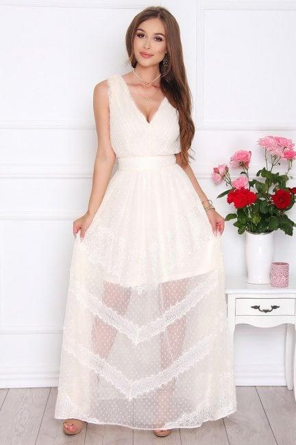 Sukienka modna maxi z koronką ecru