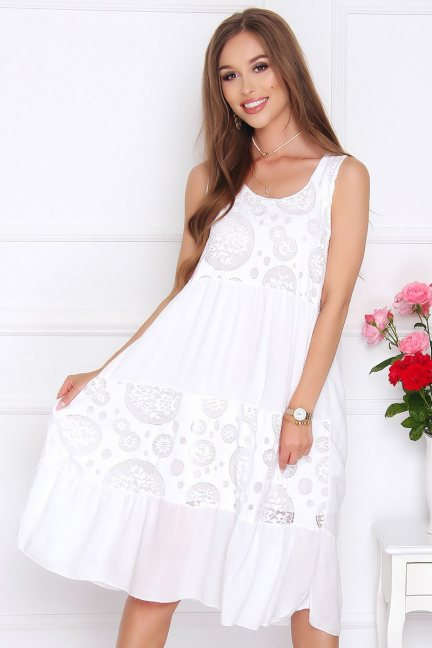 Sukienka damska midi oversize biała