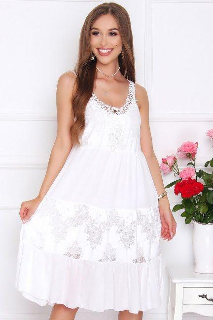 Sukienka damska midi z koronką biała