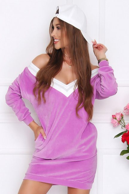 Sukienka damska mini z weluru fioletowa