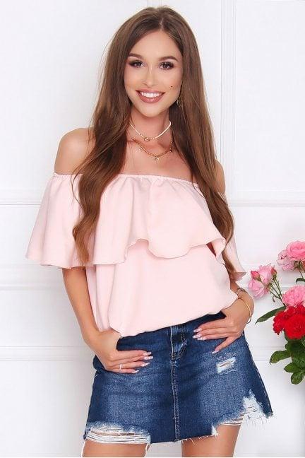 Bluzka damska hiszpanka falbanka pudrowy róż