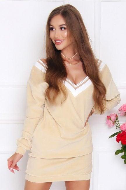 Sukienka damska mini z weluru beżowa