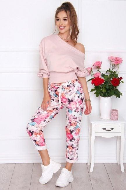 Spodnie damskie modne w kwiatki różowe