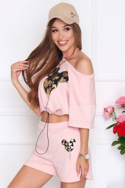 Komplet dresowy damski nadruk różowy