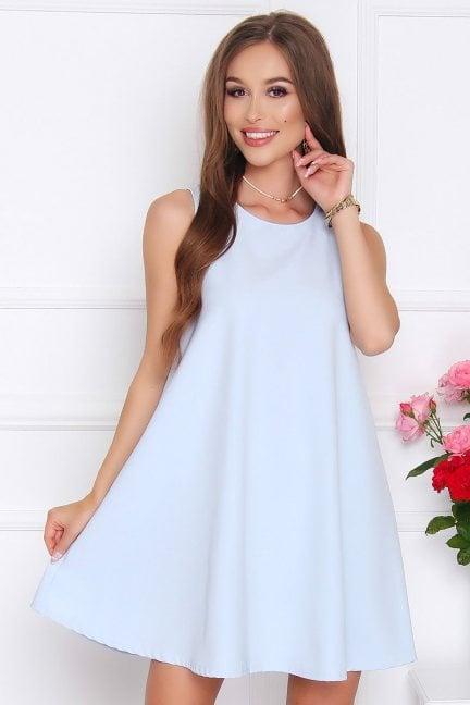 Sukienka rozkloszowana CM492 błękitna