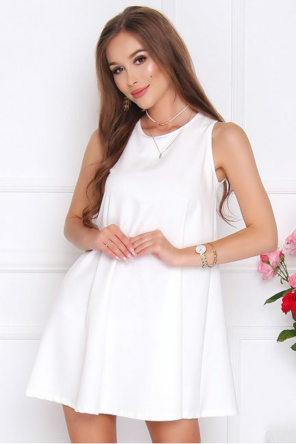 Sukienka rozkloszowana CM492 ecru