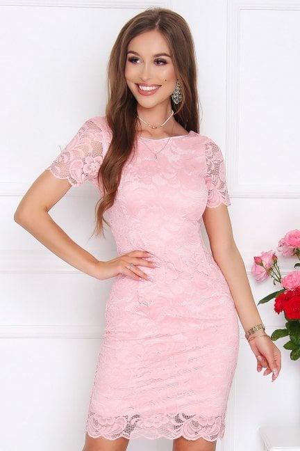 Sukienka damska midi z koronki różowa