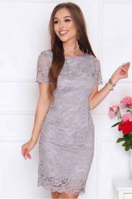 Sukienka ołówkowa z koronki szara