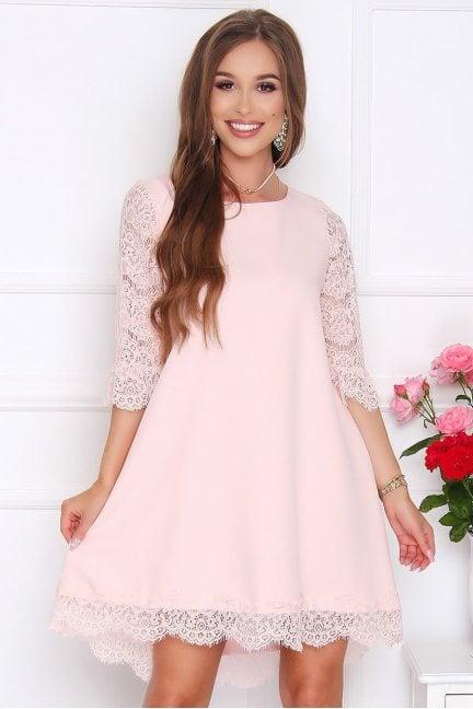 Sukienka midi dłuższy tył koronka różowa