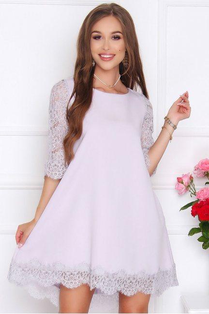 Sukienka dłuższy tył koronka szara