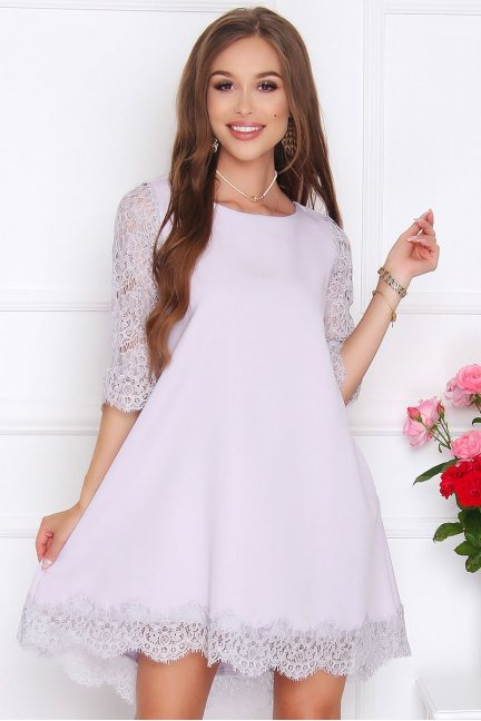 Sukienka midi dłuższy tył koronka szara