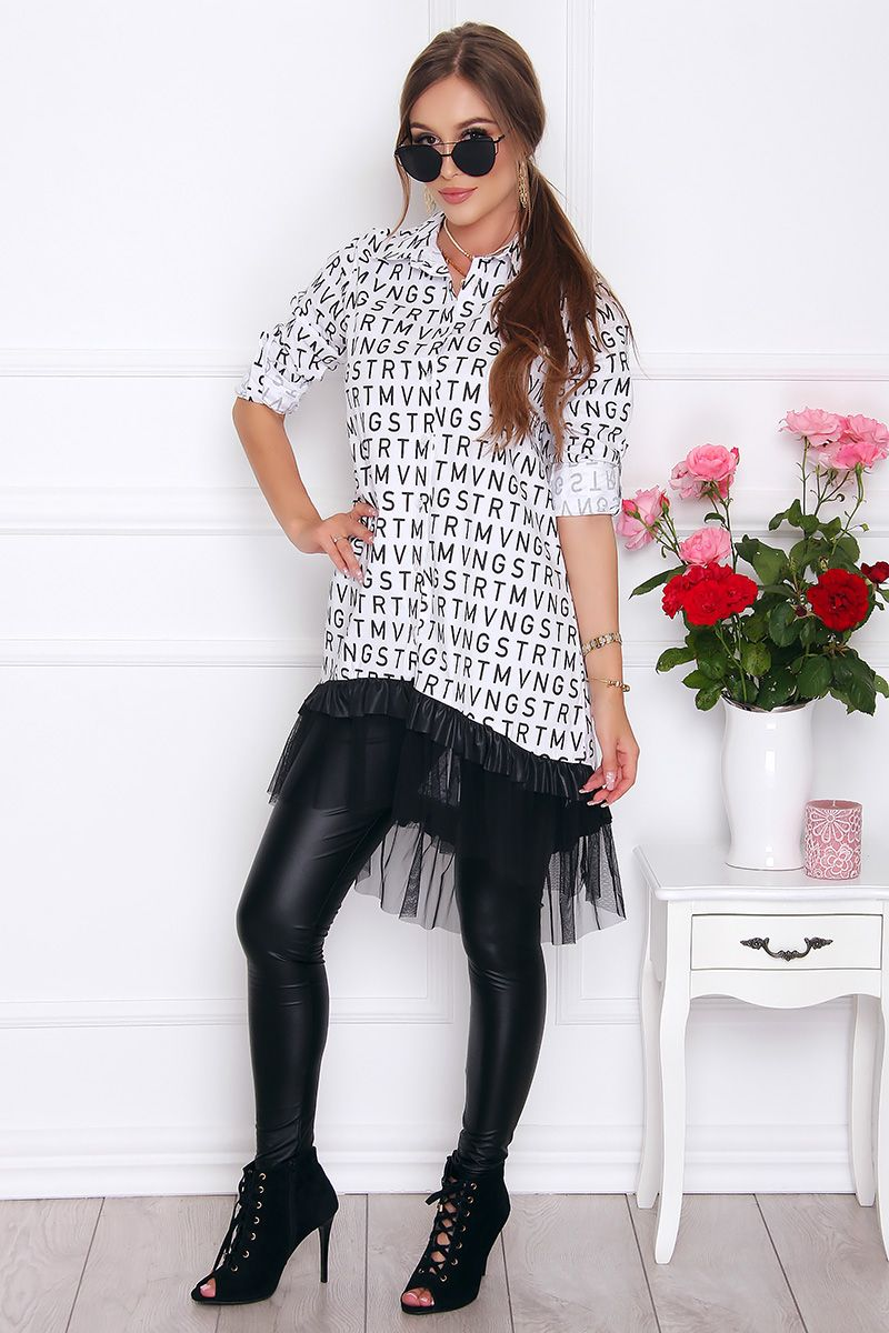 Koszula modna z dłuższym tyłem biała koszule damskie sklep  kGTmJ