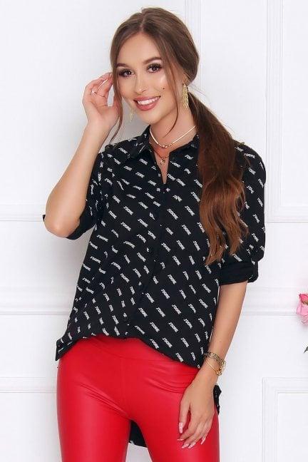 Koszula damska z kieszonką napisy czarna