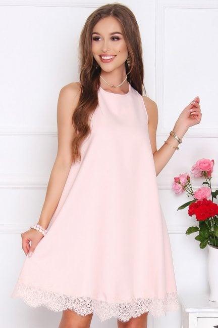 Sukienka trapezowa mini z koronką różowa