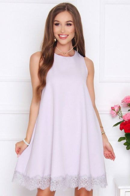 Sukienka trapezowa mini z koronką szara