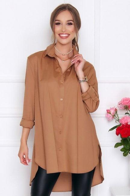 Koszula asymetryczna z guzikami camel