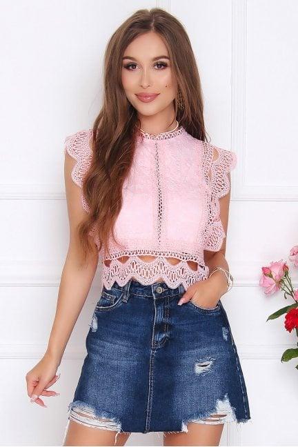 Bluzka elegancka z koronki różowa