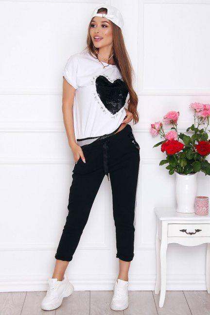 Komplet damski bluzka ze spodniami czarny