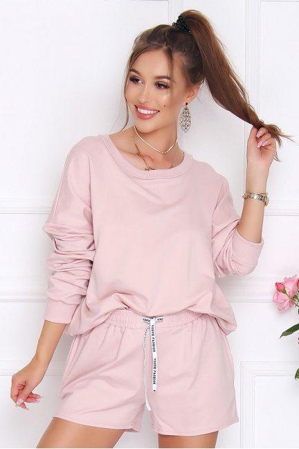 Komplet bawełniany bluza z szortami różowy