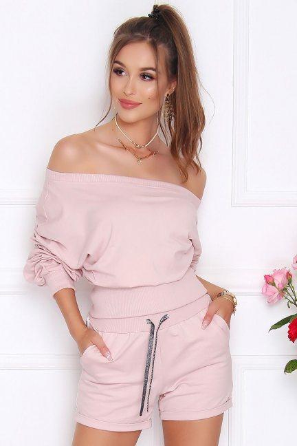 Komplet sportowy damski bawełna różowy