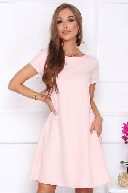 Sukienka z zakładkami trapez różowa