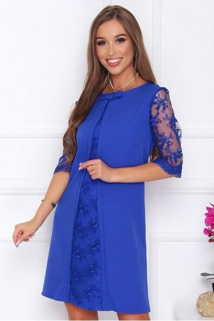 Sukienka elegancka z koronką chabrowa