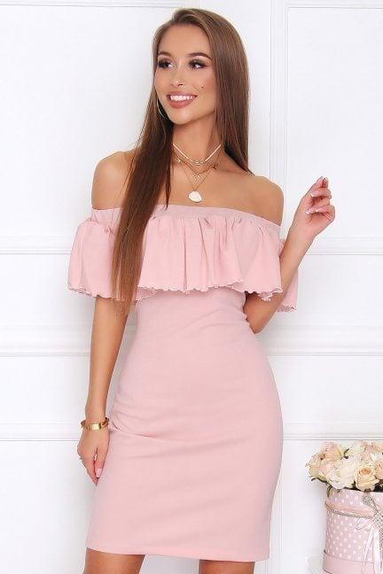 Sukienka hiszpanka mini CM581 różowa