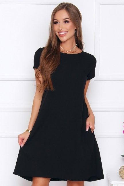 Sukienka z zakładkami trapez czarna