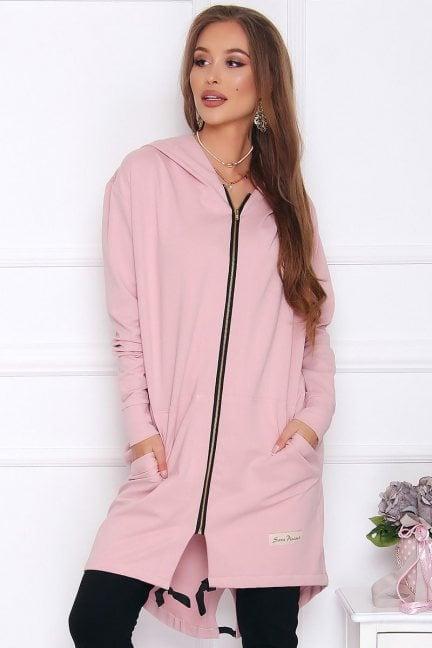 Bluza bawełniana długa różowa