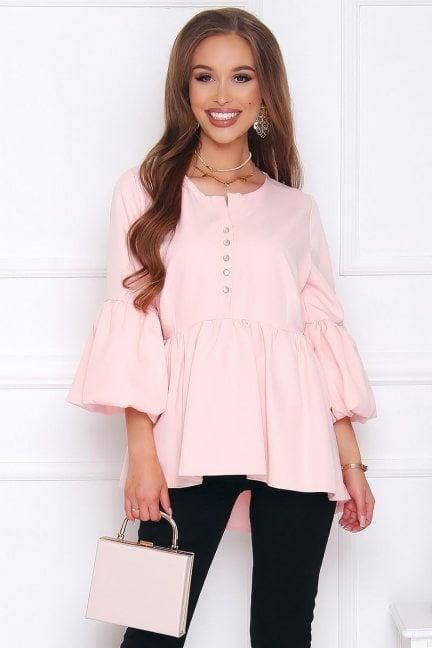 Bluzka elegancka z guzikami pudrowy róż