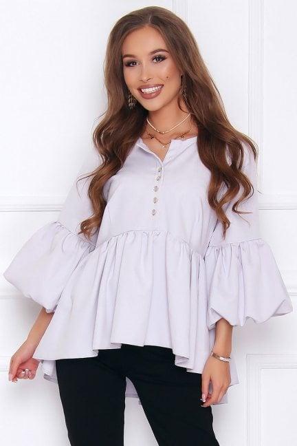 Bluzka elegancka z guzikami szara
