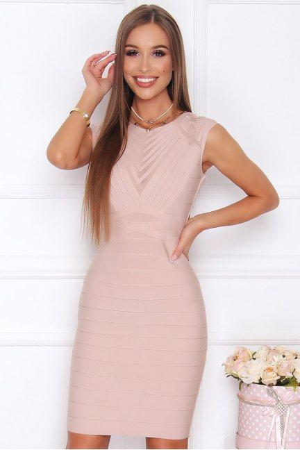 Sukienka modna ołówkowa midi beżowa