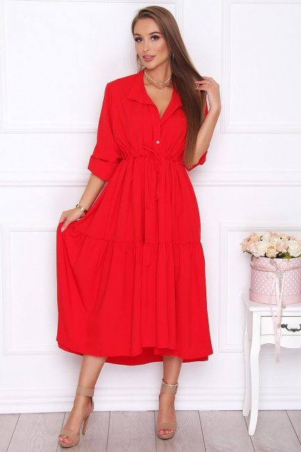 Sukienka asymetryczna gładka czerwona